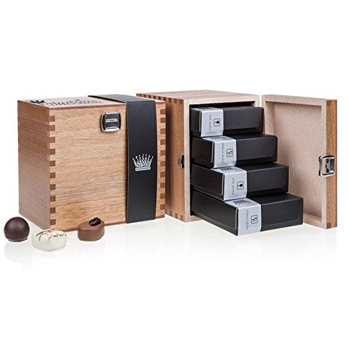 Fabulous - Mix - 40 Edle Pralinen in einem Holzschatzkästchen | Schokolade in edler Holz-Box | Geschenk | Frauen | Männer | Muttertag | Vatertag | Hochzeit | Mann | Frau | Geschenkidee | Weihnachten