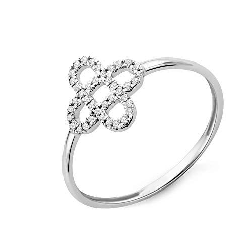 Miore - Anillo para mujer de oro blanco de 9 quilates y oro 375 con diamantes brillantes de 0,07 quilates (14)