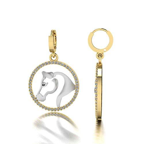 Jbr - Pendientes largos de herradura de la suerte en plata de ley 925, diseño de animales