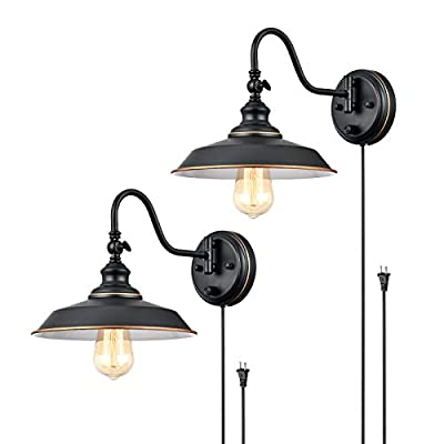 TRLIFE Dimmable Wall Sconce, Wall Sconce Plug in Gooseneck Wall Light Fixture with On/Off Switch, Wall Sconce Lighting with 6FT Plug in Cord, E26 Base, UL Listed(2 Pack)