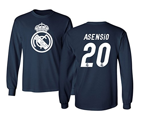 KING THREADS Real Madrid Marco ASENSIO #20 Jersey Shirt Soccer Football Men's Long Sleeve T Shirt (Navy,YS)