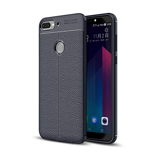 Ycloud Dünn Hülle für HTC Desire 12 Plus/HTC Desire 12+ Smartphone, Weiches TPU Silikon Stoßdämpfend Handyhülle Rutschschutz Rückseite Case Litschi-Muster Hauttextur (Navy Blau)