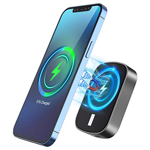Magnetic Wireless Charger Power Bank, CHGeek 15W Fast Portable Charger 10000mAh Qi Slim Mag Power...