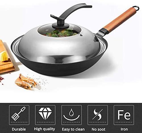SHYOD Cuisine Wok Grand Ménage Pot de fer démodées non couché antiadhésive à fond rond Wok Chef de Fried Wok (Color : 36CM) 32cm