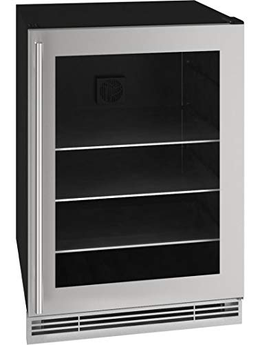 """U-Line UHBV024SG01A 24"""" 1 Class Stainless Steel Beverage Center with 5.7 cu. ft. Capacity Digital Touch Pad Control LED Lighting and Three Adjustable Tempered Glass Shelves"""