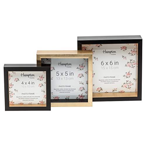 Hampton Frames SPECTRUM Three Frame Set 6x6 15x15cm / 5x5 13x13cm / 4x4 10x10cm (Black, Gold & Black)