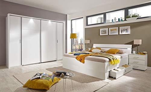 lifestyle4living Schlafzimmer Komplett Set in weiß, 4-teilig | Modernes Komplettset mit Dreh-/Schwebetürenschrank, Bett und Nachtschränken