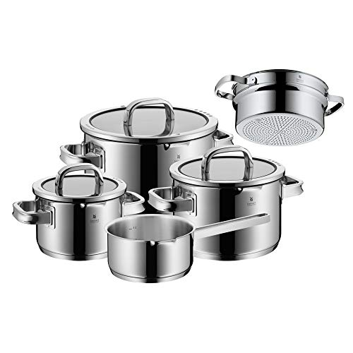 WMF 761066380 Function 4 Cookware Set with Steamer Insert, Stainless Steel, Transparent, 20 cm, 5 Units