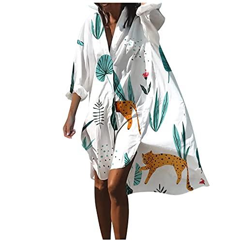 Camicetta Bikini Donna Stampata Gonna Camicia da Spiaggia Parti Superiori Allentate Indumenti di Protezione Solare Copricostume Mare Costume da Bagno