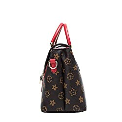 Women's Casual Waterproof PU Leather Tote Fashion Printing Shoulder Bag Messenger Handbag (Red)