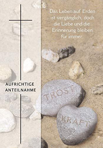 Trauerkarte Basic Classic - Steine mit Textvorschlag - 11,6 x 16,6 cm