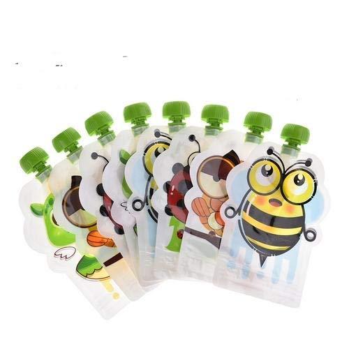 primrosely Gourdes pour Bébé Gourdes De Nourriture Sac De Rangement Complémentaire Scellé Complet sans BPA, Fait Maison Purée Maison Pulp 148ml Double Zipper Set De 8/8 PCS