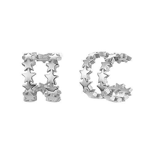DARK DIAMOND - Ear cuff Stars en Plata de Ley 925 bañado rodio o en oro de 18K. (1 unidad) (Plata)