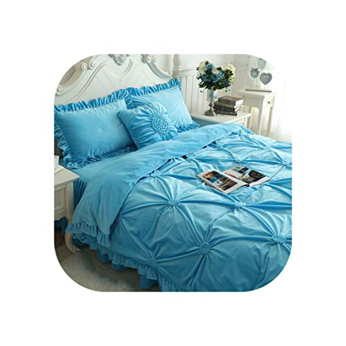 DAWN&ROSE Hand werk plissé beddengoed set dikke fleece winter bed cover set volledige queen king size bed rok dekbedovertrek set kussensloop