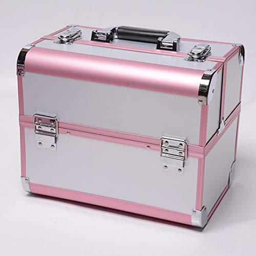 Boîte à Bijoux Sac Cosmétique Multi-Fonction Boîte de Rangement cosmétique Portable Double Ouverte Multi-Couches cosmétiques boîte étanche Rose