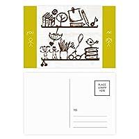 子供たちのかわいいイラストの本棚大学 友人のポストカードセットサンクスカード郵送側20個