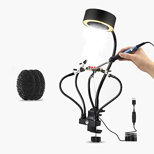 Solder Smoke Absorber Fume Extractor with Lamp,3 Colors Light,Helping Hands DIY Working Fan for Soldering Electronics,Arts and Crafts, and Stained Glass Work