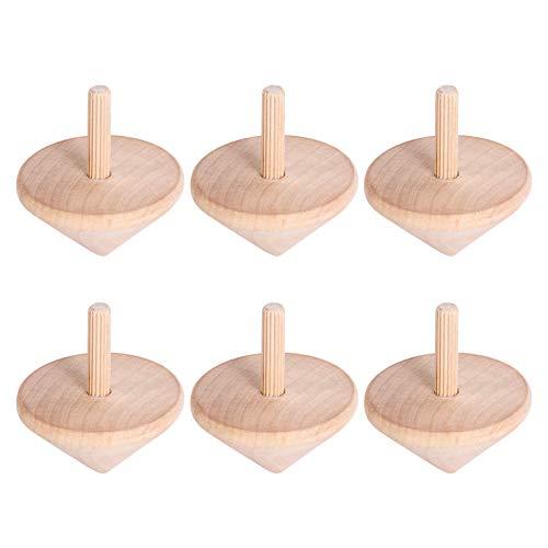 Tomaibaby 6Pcs Malen Sie Ihre Eigenen Holzspielzeuge Kreisel Unbemalte Holz Leere Drehspitzen für Kleinkinder Kinder Oder Erwachsene Lernspielzeug Ostern Party Gefälligkeiten