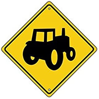 LPOK Metal Sign 12x12 Inches Tractor Symbol Farm Machinery Crossing Traffic Xing Crossing Sign Funny Aluminum Metal Signs Vintage Retro Metal Tin Sign Plate Wall Plaque Gift Sign