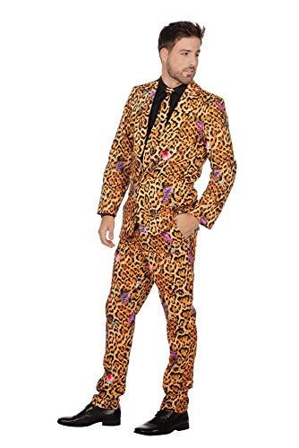 shoperama Herren-Anzug Jaguar Muster mit Krawatte Sakko Jackett Hose Karneval Fasching Party JAG Cool, Größe:52