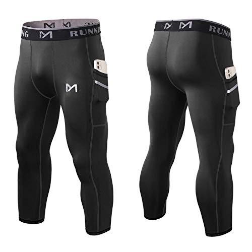 MEETYOO Kompressionshose Herren, Leggings Sport Laufhose Männer Lang Unterhose 3/4 Gym Tights Atmungsaktiv Fitnesshosen für Running (Schwarz, L)