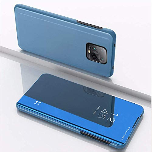 Navnika® Mobile Flip Cover for Xiaomi Mi Redmi Note 9 Pro Max Mirror Clear View with Magnetic Stand Protective Cases Diamond Blue