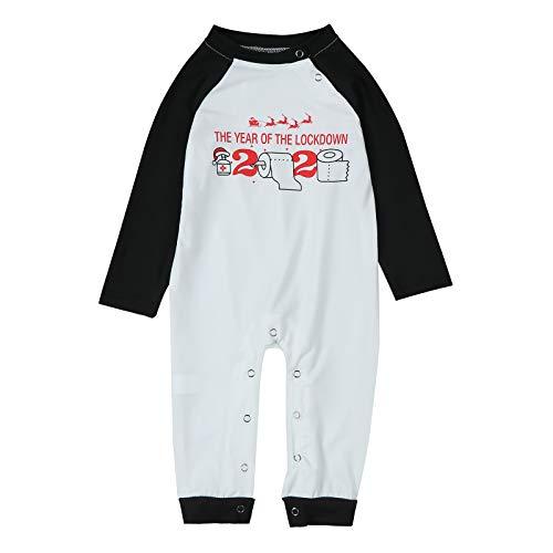 MAI Juego de 2 pijamas de Navidad para padres e hijos a juego con diseño de cuadros y pantalones largos/mono para bebé