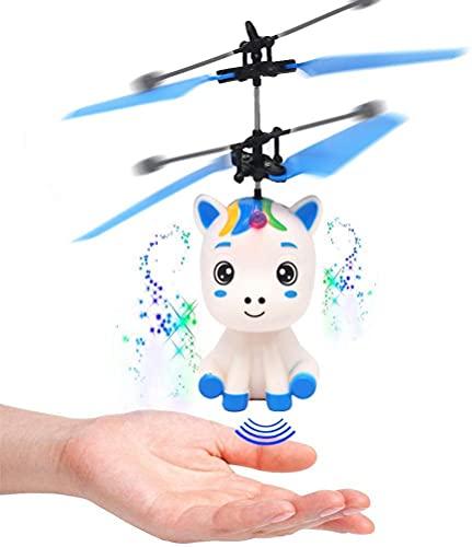 'N/A' Mini Control Remoto De Suspensión De La Inducción Volando Drone, Mini Mano Volando Unicornio Juguete RC Aviones con Luz Led, Hélice De Unicornio Controlado A Mano
