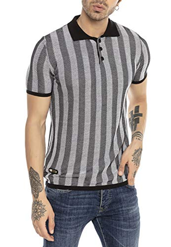 Herren T-Shirt Polo Shirt Kurzarm Strick Casual Design Gestreift Schwarz-Weiß XXL