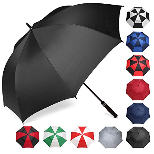 BAGAIL Golf Umbrella 68/62/58 Inch Large Oversize Automatic Open Stick Umbrellas for Men and Women(Black-Sinlge Layer,62 inch)