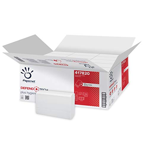 Papernet Asciugamano Piegato V 417820 | Asciugamani di carta 2 veli con formula antibatterica | Compatibile con Dispenser Antibatterici C/V 417204, 416143 | 15 confezioni per 210 strappi da 21x22cm
