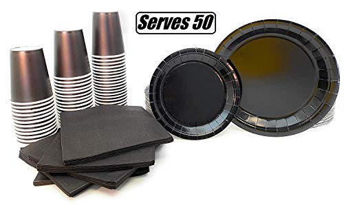 Serves 50 | Complete Party Pack | Black | 9' Dinner Paper Plates | 7' Dessert Paper Plates | 9 oz Cups | 3 Ply Napkins | office parties, birthday parties, festivals, Black Party Theme