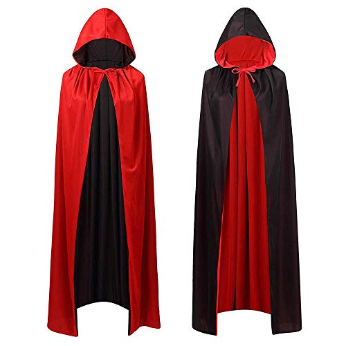 Mantello con Cappuccio,Mantello di Halloween Donna Uomo Bambini Halloween Cape Carnival Carnevale Costume Cosplay Cape Hooded Nero
