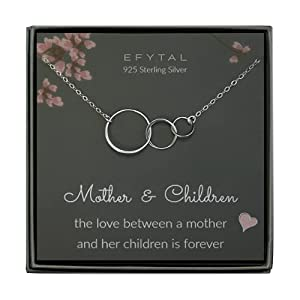 EFYTAL Mom 2 Children Necklace, 925 Sterling Silver Three 3 Interlocking Infinity Circles, Mother and Child Gifts for Mom, Mothers Day Jewelry Gift