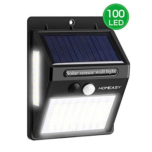 homeasy Solarwandleuchte Außen mit 3 Modi Solarlampen mit Bewegungsmelder 100LED IP65 Wasserdichte Aussenlampe für Wohnwagen Garten Balkon