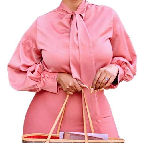 Tops de Verano para Mujer, Trabajo de Oficina, Fiesta, Banquete, Ropa Formal, Camisa de Manga Larga, Color sólido, Corbata a la Moda, Top InformalX-Large