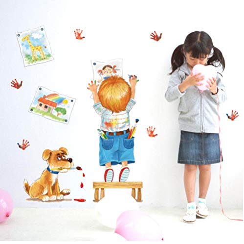 Wandaufkleber Child Drawing Doodle Cartoon Wall Stickers Pictures Handprints Dog Kids Room Bedroom Classroom Decoration Diy Stickers
