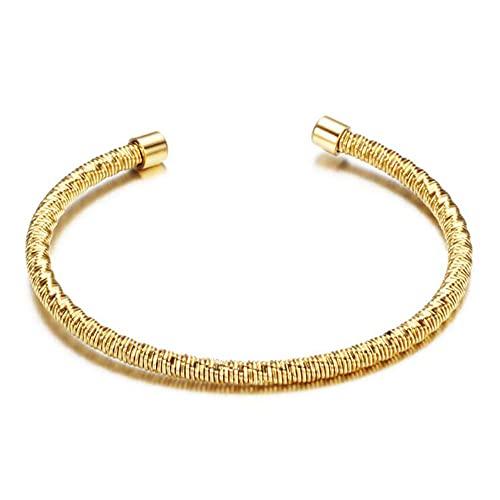 Minimalismo de acero inoxidable Moda delicada Mujeres Ajustable Pulsera Brazalete Brazalete para él Mejor regalo-Oro