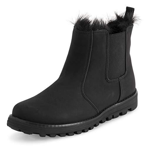 POLAR Womens Memory Foam Chelsea Nubuck Boot Waterdichte Rubber Welted Stitch buitenzool Faux Fur gevoerde