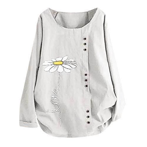 Woolen Bloom Camicia Donna T Shirt Blusa Donne Scollo a V Maniche Lunghe Camicie Donna estive Bluse Top Camicetta Bottoni Confortevole Casa Abito Primavera Estate Autunno Inverno Lana Maglietta