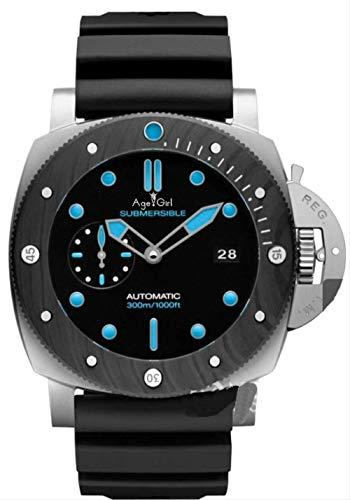 YMKCMC Reloj de los hombres mecánicos automáticos del acero inoxidable del zafiro de los relojes de los deportes luminosos negros de plata de los