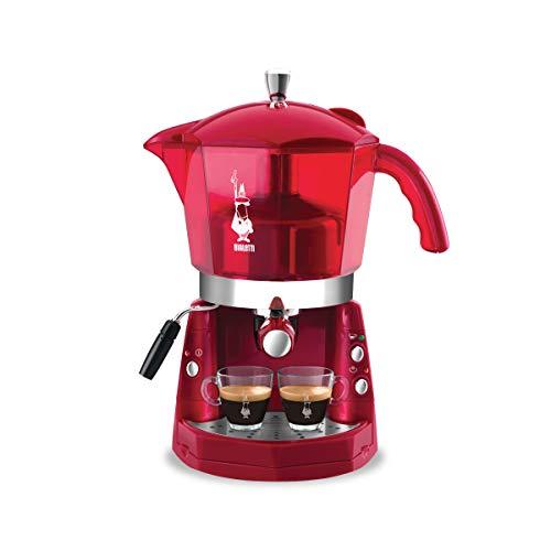 Bialetti Mokona - Macchina Caffè Espresso, Sistema Aperto, Compatibilie con Capsule Bialetti, Cialde ESE e caffè Macinato, Trasparente Rossa