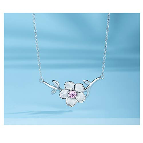 NYKK Necklace Cherry Blossom Necklace Wild Silver Necklace Japan and South Korea Clavicle Chain Necklace Female Jewelry 925 Silver Simple Pendant (Color : B)