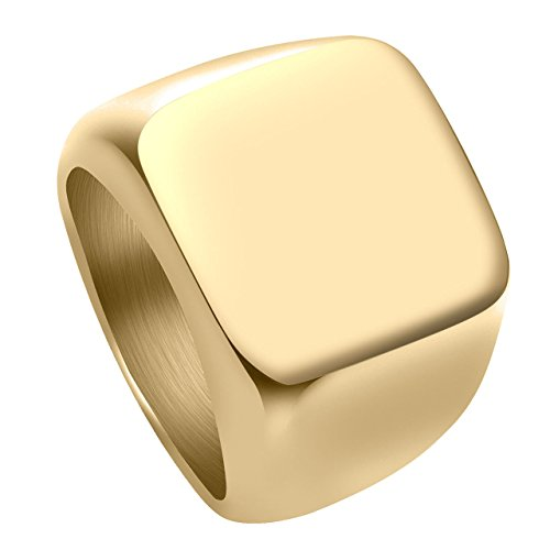 Personalized Master Personalisiert Gravur - Edelstahl Ring Glänzend Poliert Herren Siegelring Biker Quadrat Ring Gr.58-70 (Gold, 58 (18.5))