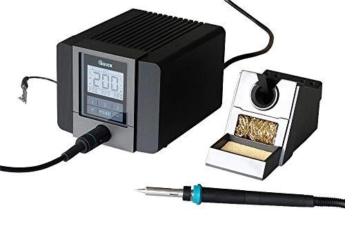Quick TS2200 digital regelbare ESD 90 Watt inkl. Lötkolben mit hochleistungs Heizelement und Zubehör SMD Lötstation für Industrie, Labor, Schule und Hobby