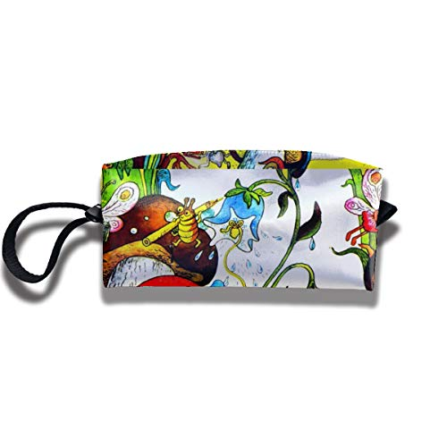 Bbhappiness Pouch Handbag Cosmetics Bag Case Purse Travel & Home Portable Make-up Receive Bag Butterfly Insects Plants Flowers