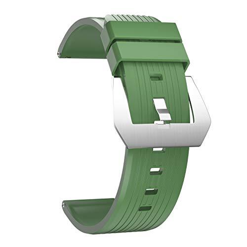 Ullchro Caucho Fluorado Correa Reloj Recambios Correa Relojes Caucho Suave Flexible Hombre Mujer - 22/24mm Correa Reloj con Hebilla de Acero Inoxidable (24mm, Deep Green)