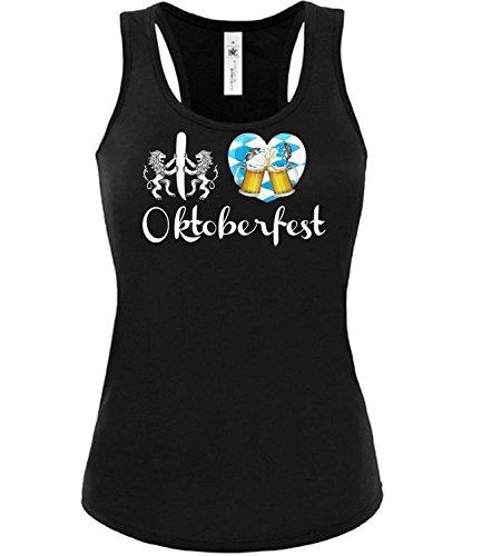 I Love Oktoberfest 2019 6105 Tshirt Wiesn Frauen Damen Tank Top T-Shirt Trachtenbluse Trachtenkleid Corsage Umhängetasche Lederrock Schwarz M