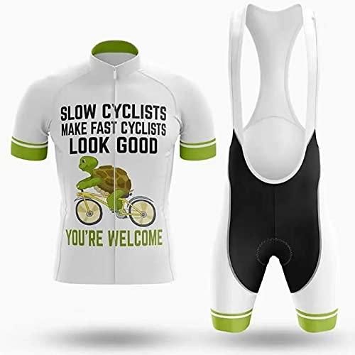 WYNR Traje de Ciclismo para Hombre Ciclismo de Manga Corta Jersey Mens Top y Baberos Conjunto con Almohadilla de Gel para Andar en Bicicleta en el Exterior(01,S)