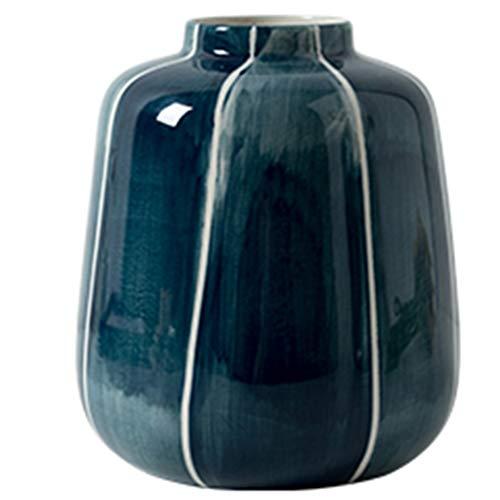 PHH Keramikvase Wohnzimmer Tisch Keramik Vase Dekoration modern minimalistisch Blumenarrangement Ornament Vase, Keramik, blau, 20 * 16.5CM